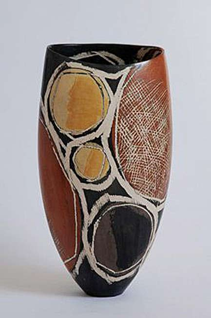 Red, black, yellow and orange abstract vase - Carolyn-Genders