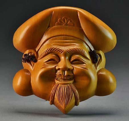 full faced Japanese wooden mask