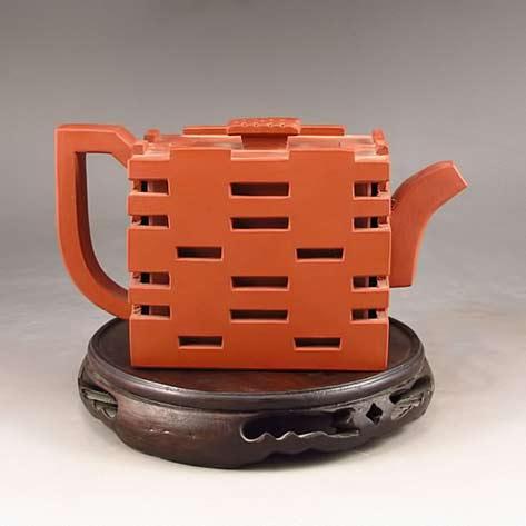 Chinese-Yixing-Zisha-Clay-Double Happiness Teapot