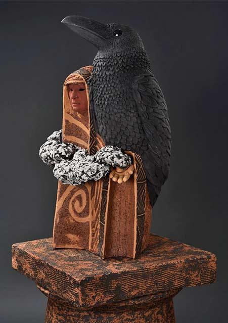 Clayton_Thiel_ShamanicFigures_Raven-Magic black raven saculpture