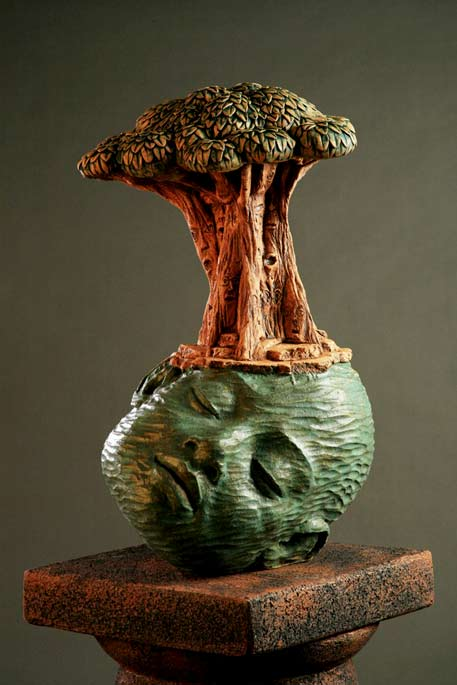 Clayton_Thiel_Spirit_Tree - ceramic sculpture of a green head with a tree on top