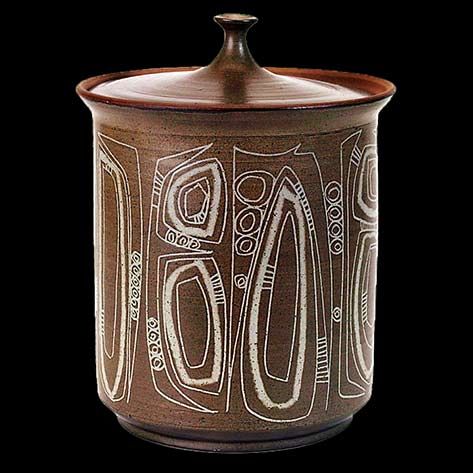 Mid Century ceramic jar with lid and sgraffito motifs  - Clyde Burt