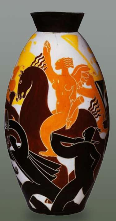 Corrado Cagli-Dante Baldelli The March on Rome ceramic ovoid vase