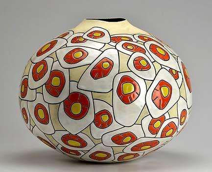 Daffodil Blossoms- Boyan Mosko Ceramic Vase - Artful Home red, yellow, white and cream squat vessel