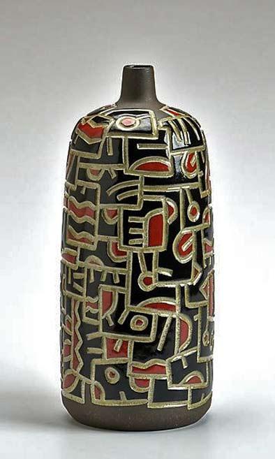 Iincised Doodle Bottle - Red and Black Boyan Moskov-