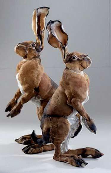 Elaine-Peto two ceramic hare sculptures