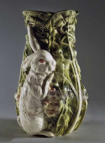 Flower-vase-representing-rabbit-and-cabbage-(20th-century),L'Ancora-manufacture