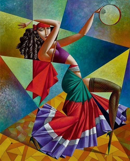Georgy-Kurasov painting of female dancer with tamborine