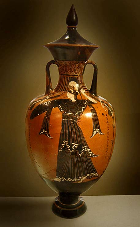 Greek amphora, National Archaeological Museum of Athens, showing the goddess Athena