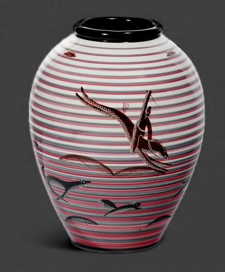 Hunters vase by Rometti