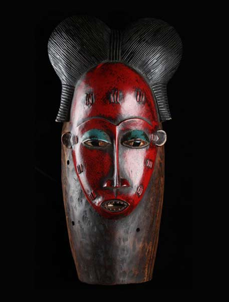 Ivory-Coast-red-mask carved from wood