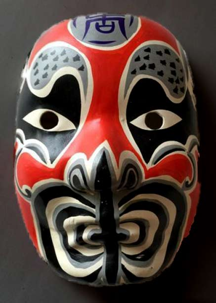 Japanese-Folk-Art-Opera-Mask in red, grey, black and white