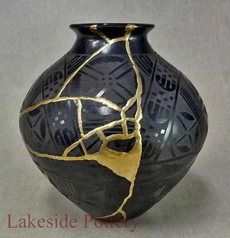 Black with gold Kintsugi-vessel-Lakeside-Pottery