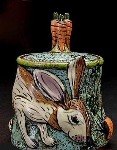 Ceramic bunny box with carrot handled lid - Lisa Naples