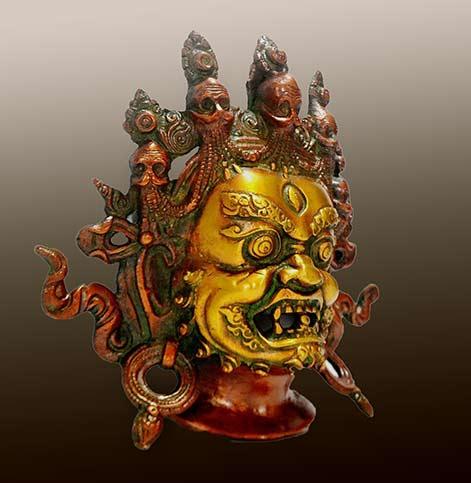 Gold and red Mahakala-Buddha-Wall-Mask