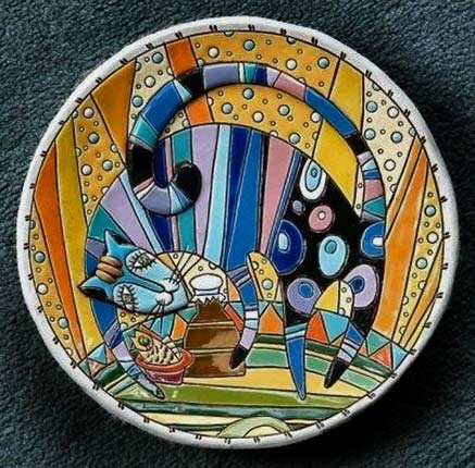 Natalya-Sots-plate with an abstract cat