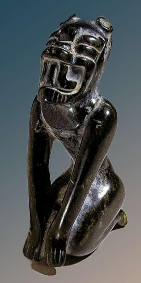 Black Olmec Shaman Jaguar Transformation sculpture figure