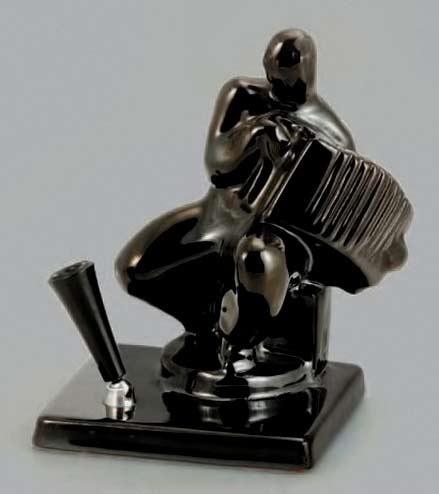 Black ceramic accordion player