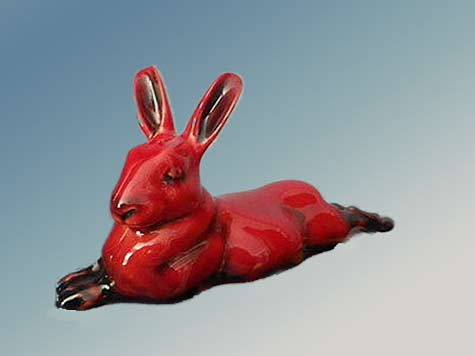 Royal-Doulton-Flambe-Hare red glaze