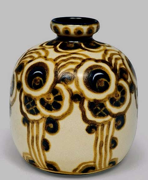 Vase with stylized floral motifs,-jasper - Charles Catteau