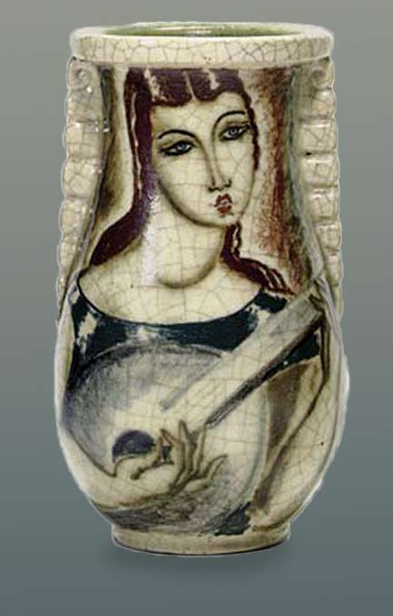 Craquelure vase with female mandolinist motif - Rene Bathaud