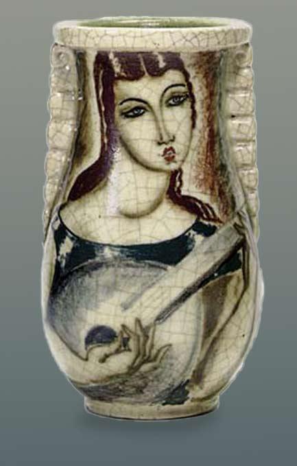 Craquelure vase with female mandolinist motif - Rene Bathaud