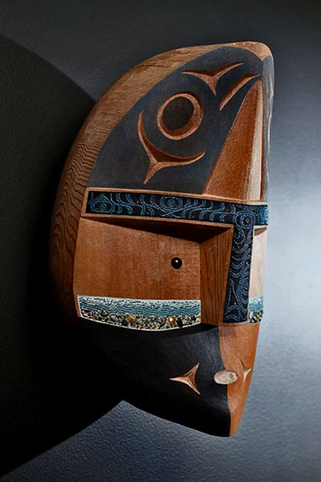 River-Spirit-wall mask--Courtney and Scott-Jensen carved wood and beads