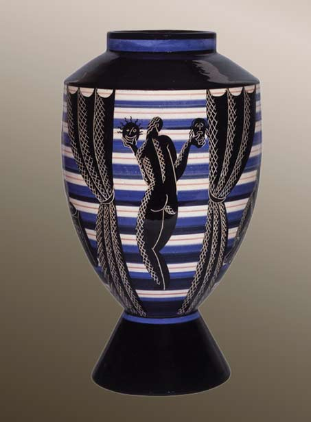 Allegoria footed vase with standing naked female from, the back