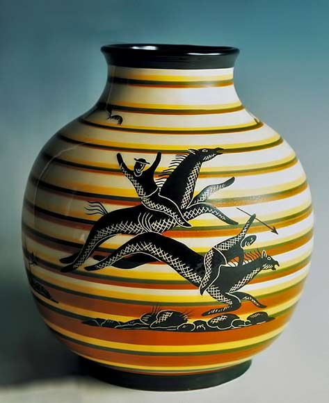 Huntsmen vase Rometti-Corrado-Cagli Slightly flattened oval-shaped vase, with low funnel mouth, decorated with black hunting scene with green, yellow and brown horizontal bands on white background, majolica-glazed terracotta, Rometti manufacture, Umbertide, Italy, 20th century