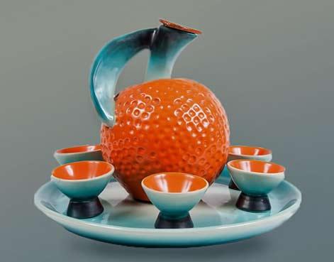 Rometti-Tangerine ceramic Liqueur-set