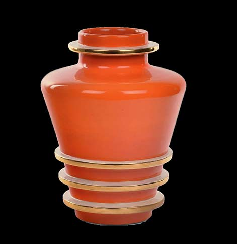 Rometti-Umbertide-red vase with gold bands