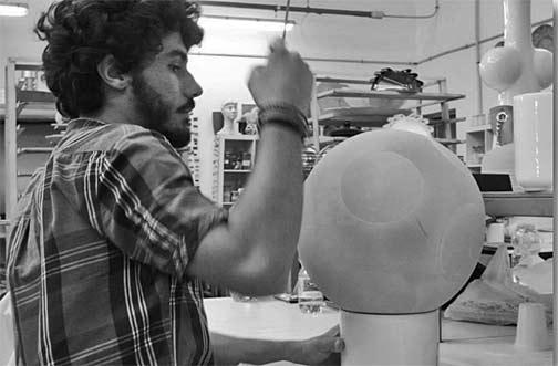 Rometti ceramic artist in studio