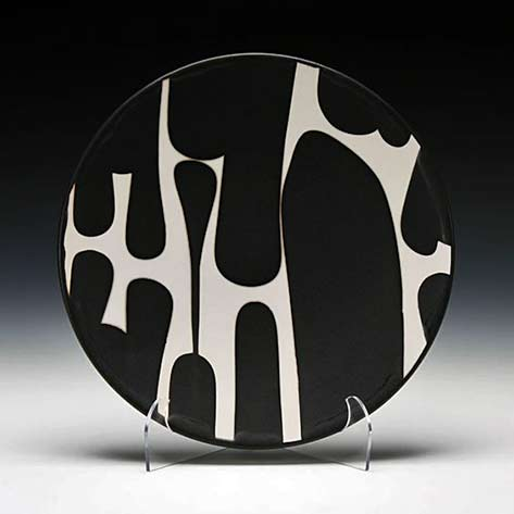 Sam-Scott black and white abstract motif plate