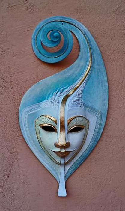 Sky Blue with gold highlights 'Small wind' mask by Nives Cicin Sain