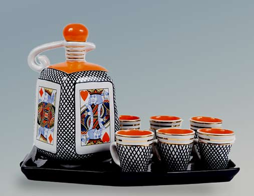 Four kings Ceramic liqueur-Set-Rometti