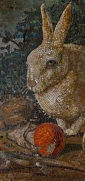 Mosaic with a rabbit, lizard and mushroom, 19th or early 20th century.- MET