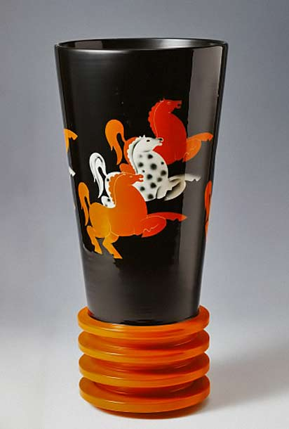Vase with stylized-horses,-majolica-glazed-terracotta,-Rometti
