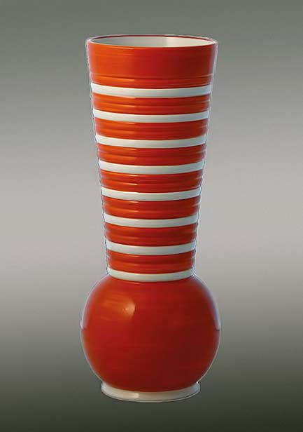 Vaso-Marin---Rometti red vase with white bands