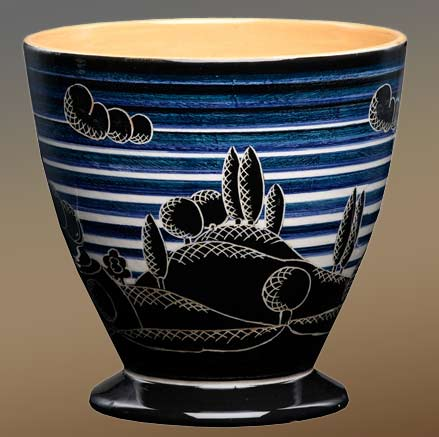 Umbria landscape cache pot - Rometti Blue black and white bands with silhouette landscape