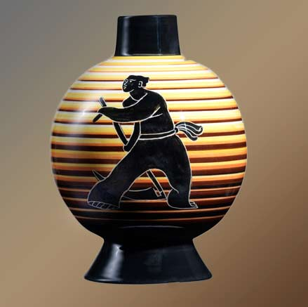 rometti-footed vase with man working in the fields motif in black