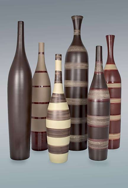 Ceramic bottles with horizontal stripes - Jean-Christoph-Clair
