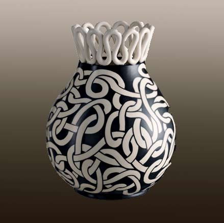 Black and White labirinto-vase-Rometti