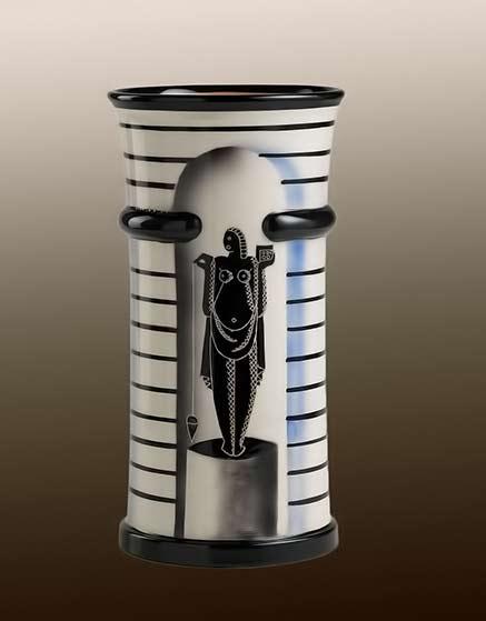 Le Arti' ceramic vase - Rometti - naked femal motif