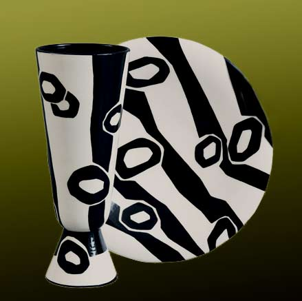 Primitivo-Rometti-black and white abstract pattern plate and ffooted tumbler