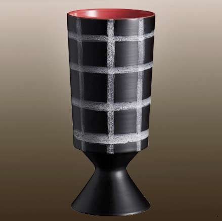 retia_vase black with white chequered pattern Rometti