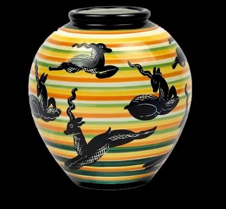 Rometti-ceramiche-vase-antilopi ovoid vase with orange, white, green, yellow bands with blacl antelope motifs