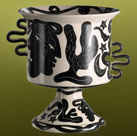 Rometti black and white vase with abstract motifs
