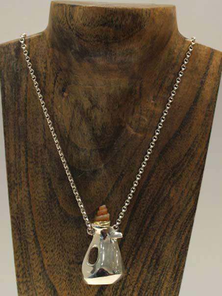 A drop of tea---silver pendant--Keith Belles