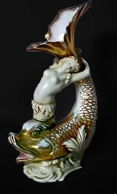 Porcelain-Mermaid-and-Dolphin-Vase