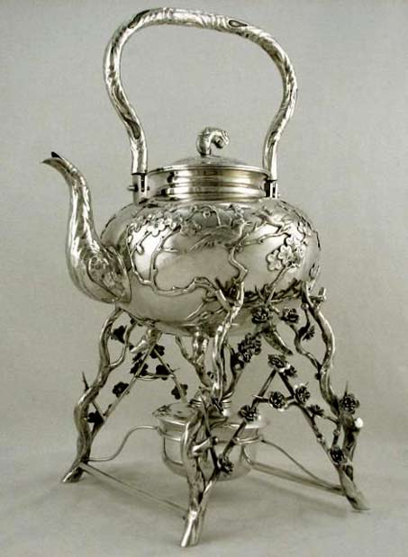 Art-Nonuveau-sterling-silver-tea-pot. on a branches stand